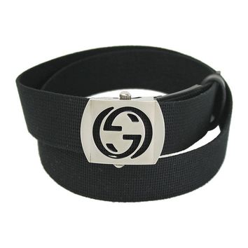 BRAND NEW GUCCI BLACK CANVAS INTERLOCKING G BUCKLE MEN'S BELT 387032 36""