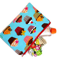 Cupcake purse - dessert zippered pouch - girls blue pencil case - large wallet - fully lined - sweet tooth fabric