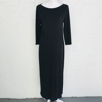 Ralph Lauren Black Drop Waist Maxi Dress, Size Medium