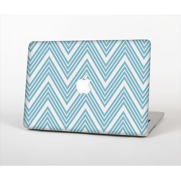 """The Three-Lined Blue & White Chevron Pattern Skin Set for the Apple MacBook Pro 13"""""""