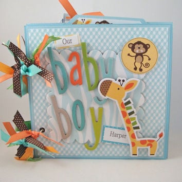 Scrapbook Mini Album Baby Boy Premade Personalized by ArtsyAlbums