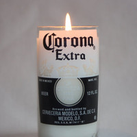 Beer Bottle Candle Upcycled from Corona or Corona Light Beer Bottle, High Scented, Custom Made Candle