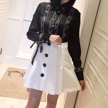 LMFON Chanel' Women Retro Letter Embroidery Ribbon Bow Long Sleeve Shirt High Waist Short A Word Skirt Set Two-Piece