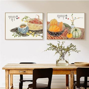 Chinese Style Pumpkin Fruit Vegetables Canvas Painting Poster And Print Wall Art Pictures For Living Room Dining Room Home Decor