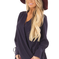Navy Wrap Style Top with Polka Dot Detail