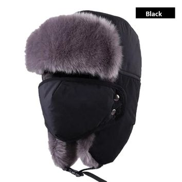 JUN JUN.W Outdoor Windproof Winter Thermal Skiing Hats Lei Feng Hiking Russian Caps With Masks Bomber For Women Men 6 Colors