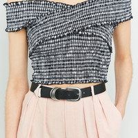 Pins & Needles Gingham Cross-Shoulder Shirred Top | Urban Outfitters