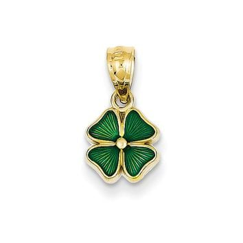 14k Yellow Gold & Green Enamel Small Four Leaf Clover Pendant, 8mm
