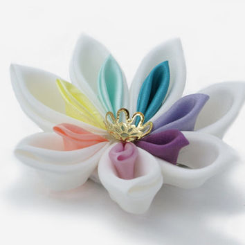 Rainbow Pastel Wedding Hair Piece - Hair Flower - Pastel Kanzashi Flower  - Pastel Flower - Rainbow Wedding - Rainbow Colour Hair Accessory