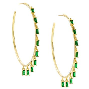 """Pave Mini Baugette Dainty Emerald 1.4"""" Hoop Earring Embellished with Swarovski Crystals in 18K Gold Plated"""