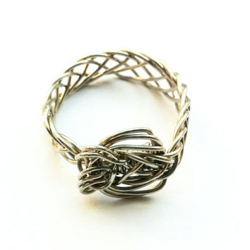 Braided ring, wire wrapped ring, fishtailed ring, fishtail braid, large ring, nickel silver ring, silver wire ring, wire wrapped jewelry