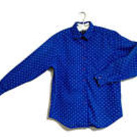 Polka Dotted Shirt Talbot's Small Blue and White Ladies Long Sleeved Blouse