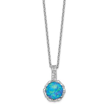 Cheryl M Sterling Silver Cubic Zirconia and Blue Opal Necklace