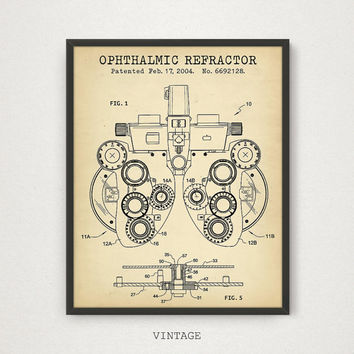 Ophthalmic Refractor Patent Printable, Phoropter Art, Ophthalmology, Eye Clinic Decor, Optometry Poster, Optometrist Gift Optician Blueprint