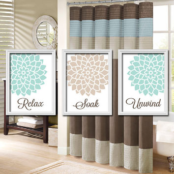 Relax Soak Unwind - Seafoam Blue Green Beige Linen - Flourish Flower Artwork Set of 3 Bathroom Prints Wall Decor Art Picture Match