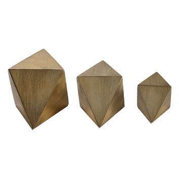 Rhombus Champagne Geometric Sculptures - Set of 3 by Uttermost