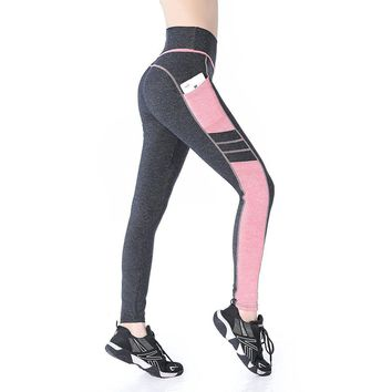 Grey & pink High Waist Cell Pocket Yoga Workout Exercise Leggings
