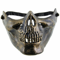 Best Selling Skull halloween mask Jaw Horror Half Face Shied Terror Mask Plastic Human Skull Skeleton Mask for Halloween Party
