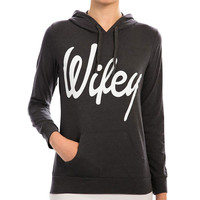 "Black ""Wifey"" Print Hooded Sweater"