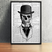 Skull poster Skeleton print Dictionary art Black and white decor