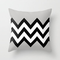 GRAY COLORBLOCK CHEVRON Throw Pillow by natalie sales