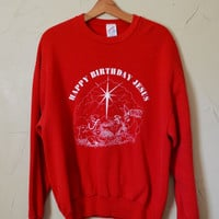Vintage Sweater Red Sweater Christmas Sweater Ugly Christmas Sweater Happy Birthday Jesus Sweater Sweatshirt Nativity Scene Size XL