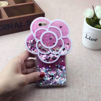 Sparkling flower sand phone case for iphone 5 5S SE 6 6s 6 plus 6s plus + Nice gift box 072301