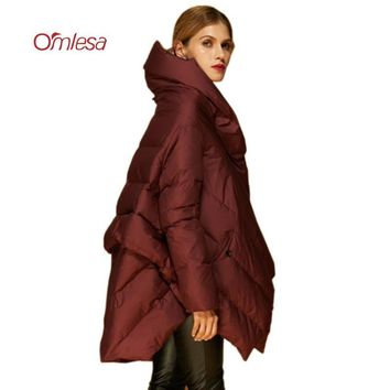 OMLESA Women Feather Coats 2017 New Oversize Long White Duck Down Jackets Female Loose Down Parka Asymmetric Puffy Jacket YQ333