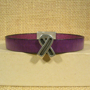Cystic Fibrosis (CF) Awareness Bracelet - Purple 10mm Flat Leather Bracelet with Awareness Slider and Magnetic Clasp (10FA-094)