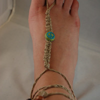 Peace Sign Hemp Barefoot Sandals  Pair  Peace by BeYouTiFuLbyLindZ