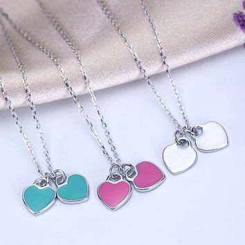 Tiffany simple heart necklace 925 sterling silver high quality