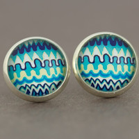 Fake Plugs Stud Earrings : Wave, Zig Zag, Teal, Blue, Navy, White, Stripes, Cabochon, Domed, ArtisanTree