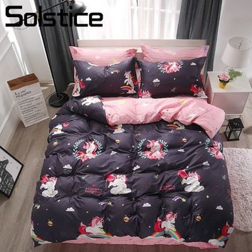 Solstice Home Textile Rainbow Duvet Cover Pillowcase Pink Bed Sheet Kid Girls Bedding Set Child Teen Woman Linens Queen Twin Ful