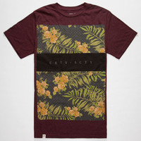 Lira Fashion Block Mens T-Shirt Burgundy  In Sizes