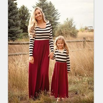 Mommy and Me Striped Long Dress