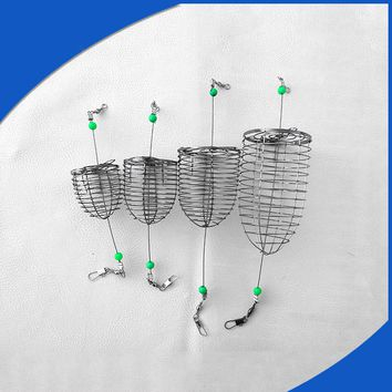 Stainless Steel Wire Fishing Lure Cage Small Bait Cage Fishing Trap Round Bottom Basket Feeder