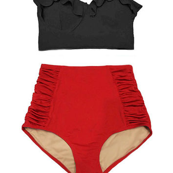 Black Midkini Top and Red Ruched High Waisted Waist Highwaist Shorts Bottom Women Womens Swimsuit Swimwear Bikini Bathing suit wear S M L XL