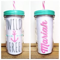 Personalized Tumbler - Mason Jar Tumbler, 24oz Mason Jar Tumbler,Mason Jar with Straw, Personalized Gift, Mason Jar To Go Cup