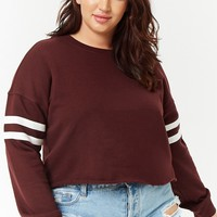 Plus Size Cropped Varsity Sweatshirt