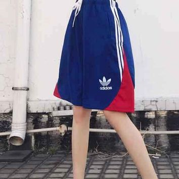 ADIDAS Women Men Blue And White Line Shorts Side Edge Flag Red Bottom B-MG-FSSH Blue