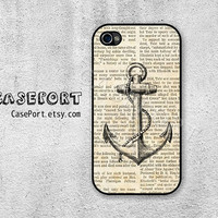 Vintage Anchor on Newspaper iPhone 4 Case, iPhone 4s Case, iPhone 4 Cover, iPhone 4s Cover, iPhone Hard Case