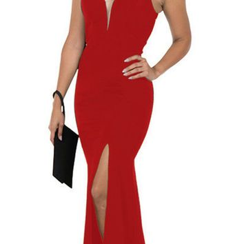 Cut-Out Back Mermaid Long Prom Dress with Slit Red