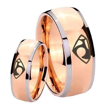 His Hers Rose Gold Dome House of Van Two Tone Tungsten Wedding Rings Set