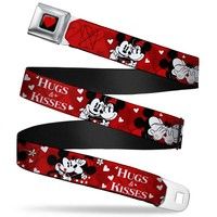 Heart Full Color Black Red Mickey & Minnie Hugs & Kisses Poses Reds White Seatbelt Belt Standard