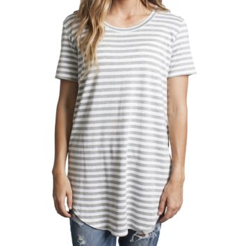 Heather Gray Stripe Piko Curved Hem Top