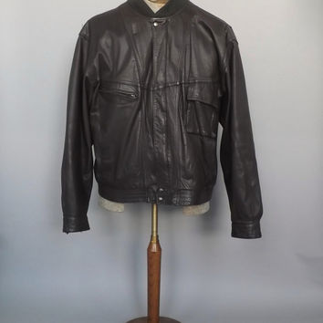 Men's Vintage 1980s Dark Brown M. Julian Size 46 Genuine Leather Fall Jacket Coat Mens Blazer Bomber Leather Motorcycle Jacket Boho Hipster