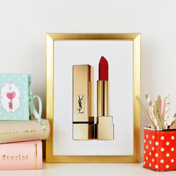 Yves Saint Laurent Beaute Makeup Print,Lipstick,Birthday Gift,Gift For Wife,Makeup Wall Art,Bathroom Print,Lipstick Wall Art,Fashion Print