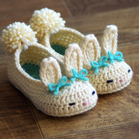 Toddler Bunny Slippers Tot Hops Toddler Crochet Pattern - Childrens shoe Sizes 4 - 9 - ALL 6 Sizes Included - Number 214 Instant Download