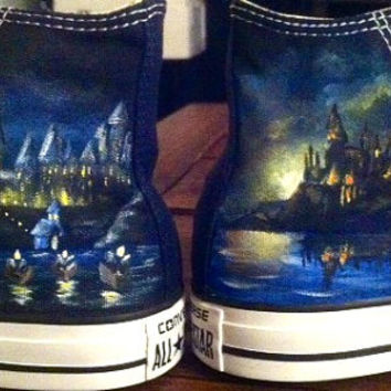 Hand Painted Harry Potter Castle/ Hogwarts Shoes