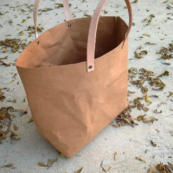 Kraft fabric paper tote bag small lunch